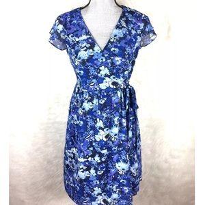 LOFT Faux Wrap Swing Dress Floral Surplice XS S